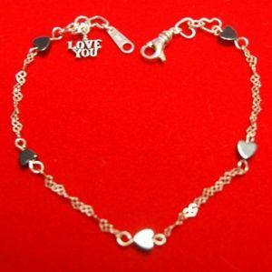 Dainty Sterling & Hematite Hearts & Love Bracelet